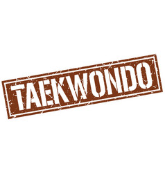 Taekwondo square grunge stamp vector