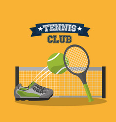 tennis club racket ball sneaker and grid banner vector image