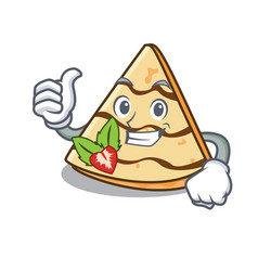 Thumbs up crepe character cartoon style vector