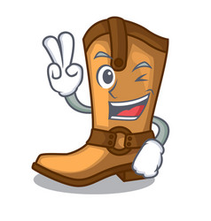 two finger cowboy boots isolated in the mascot vector image