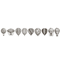 vintage hot air balloons cute flying retro vector image