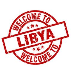 welcome to libya red stamp vector image
