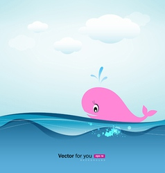 whale in blue sea vector image