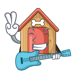 with guitar dog house isolated on mascot cartoon vector image
