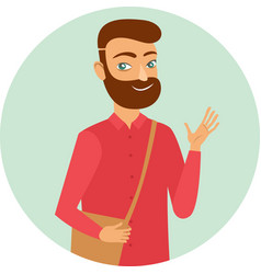 Young ginger bearded guy character vector