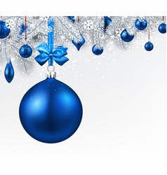background with blue 3d christmas ball vector image