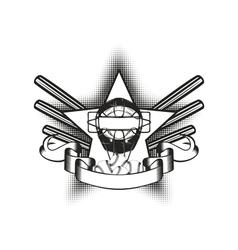 baseball mask in star vector image vector image