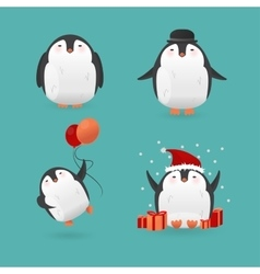 Collection of cute cartoon penguins characters vector image