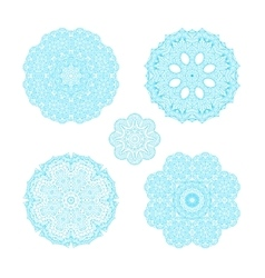 Ornament round set with blue mandala vector image