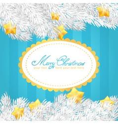 Christmas tree stars invitation golden card vector image