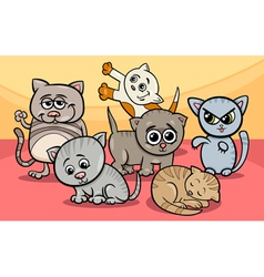 Cute kittens group cartoon vector