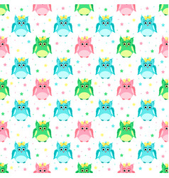 green pink blue owls with bows vector image vector image