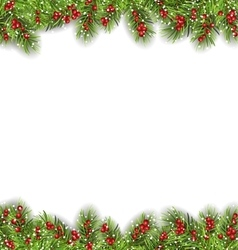 Holiday Frame with Fir Branches and Holly Berries vector image vector image