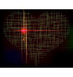 Matrix heart-abstract background with green vector image vector image