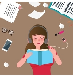 young women reading book and listening music vector image vector image