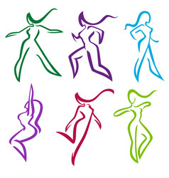 collection of abstract women in dancing and vector image vector image