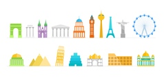 Famous buildings color silhouettes collection vector