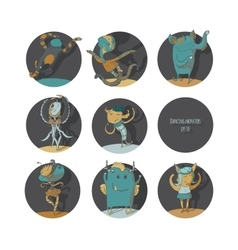 Set of cute dancing monsters color vector image