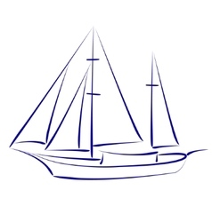 Sketched yacht vector image vector image