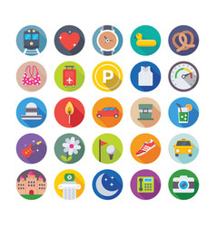 Summer and travel icons 10 vector