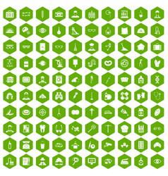 100 profession icons hexagon green vector