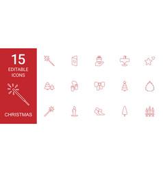 15 christmas icons vector image