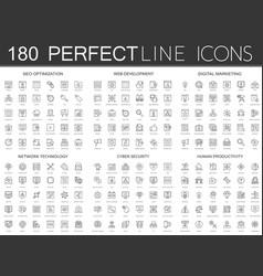 180 modern thin line icons set seo optimization vector image