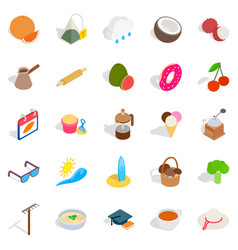 Afternoon snack icons set isometric style vector