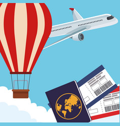 Airplane and hot air balloon with passport and vector
