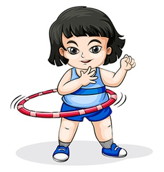 An Asian girl playing with the hulahoop vector