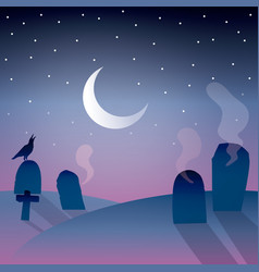 Background of graveyard with moon vector