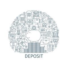 Bank deposit outline concept vector