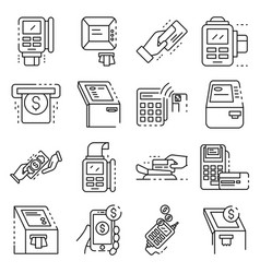 Bank terminal icons set outline style vector