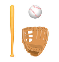 Baseball equipment colorful flat set on vector