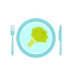 Blue plate with piece of broccoli flat icon vector