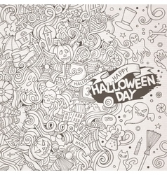 Cartoon cute doodles hand drawn Happy Halloween vector image