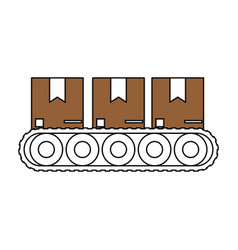 Color silhouette cartoon packages in conveyor belt vector