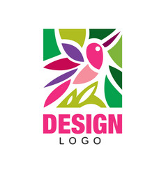 Colorful logo design with abstract pink bird and vector