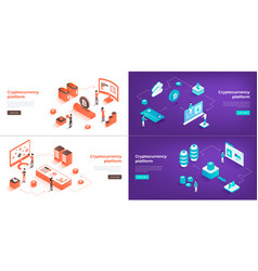 cryptocurrency exchange and blockchain 3d vector image