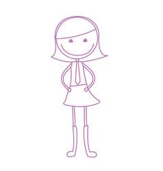 cute girl drawing character vector image
