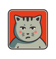 cute sad grumpy cat icon cat avatar vector image