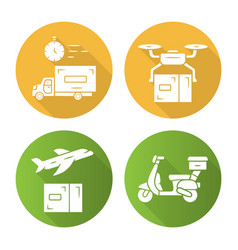 delivery flat design long shadow glyph icons set vector image