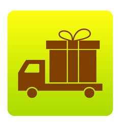 delivery gift sign brown icon at green vector image