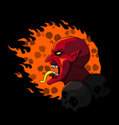 devil head on fire vector image