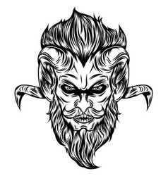 Devil head with glare eyes and long hair vector