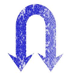 Double back arrow grunge textured icon vector