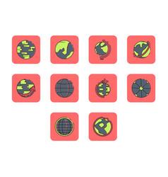 Flat color globe icon set vector