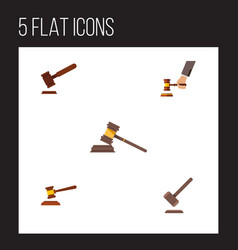 flat icon lawyer set of crime hammer justice and vector image vector image