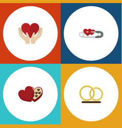 Flat icon love set of shaped box ring closed and vector