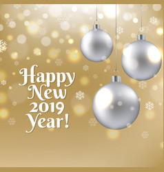 happy new year postcard with christmas ball vector image